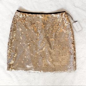 1. State Matte Sequin Mini Skirt Silver and Gold
